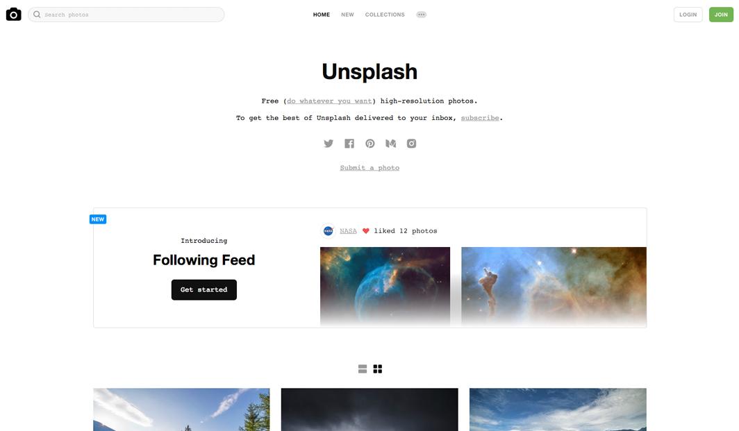 5 Quellen für kostenlose Stockfotos - Unsplash